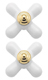 Moen 97435 Monticello Large Cross Replacement Handle Knob Insert, Porcelain/Polished Brass