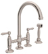 Rohl  A1461LMWSSTN-2   Country Kitchen Bridge Faucet With Side Spray And Metal Lever H, Satin Nickel