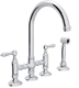 Rohl  A1461LPWSAPC-2   Country Kitchen Bridge Faucet With Side Spray And Porcelain Lever Handles, Chrome