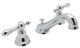 Rohl  AC102OP-APC-2   Arcana Widespread Lavatory Faucet With Ornate White Porcelain Levers And Pop-Up, Chrome