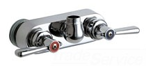 """Chicago 521-LESSSPTCP Two-Handle Wall-Mount 4"""" Faucet Without Spout"""