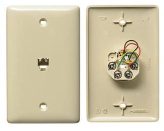 Hubbell Wiring Devices NS735AL 1-Gang Almond Thermoplastic Medium 1-RJ11 Molded-In Data Communication Plate