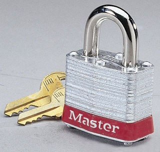 IDEAL 44-907 PADLOCK WITH 2IN SHACKLE RED BUMPER