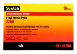3M 2200-3-1/4X4-1/2 MASTIC PAD 10/BOX 80610087100