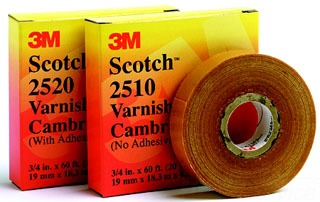 3M 2510 3/4x60' VARNISHED CAMBRIC TAPE YELLOW NO ADHESIVE 80610833420
