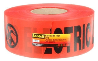 """3M 303 RED BURIAL TAPE 3"""" x 300FT """"ELECTRIC LINE BELOW"""" 80611217722"""