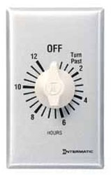 INT FF30M10 30 Min. Spring Wound Timer Auto Off Timer Without Hold, 30-Min, SPST, 20A at 125V/10A at 277V Contacts, Brushed Metal Finish WHITE KNOB