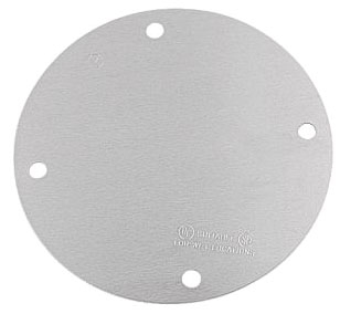 R-DOT SS-B Round Blank Weatherproof Cover 4-1/8 Inch Diameter Silver Aluminum with Gasket and Screws