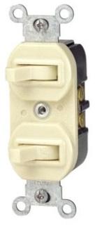 LEV 5243-W 3-WAY/3-WAY 15A 120/277V DUPLEX STYLE WHITE SWITCH COMM