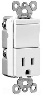 Pass & Seymour TM818-LACC 15 Amp 120/125 VAC 1-Pole NEMA 5-15R Light Almond Decorator Combination Switch/Receptacle