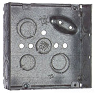 STC521711234E 4 INCH PRE-GALVANIZED STEEL SQUARE BOX, 2-1/8 INCH DEEP, 30.3 CUIN. WELDED CONSTRUCTION WITH 1/2 INCH & 3/4 INCH ECCENTRIC KNOCKOUTS AND GROUND BUMP. FOR USE WITH CONDUIT., STEEL CITY