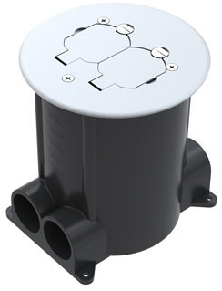 "WALK 881 RND RATCHET-PRO FLOOR BOX with 4-1"" HUBS & PVC REDUCERS WITH INSERT FOR DEVICE"