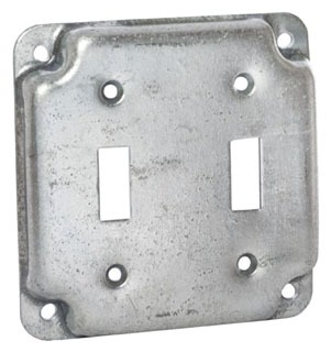 Raco 803C 4 in. Square Exposed Work Cover, Two Toggle Switch