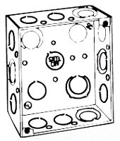 "STL-CTY 52151-1/2-3/4EWGB 4""SQ Box Welded w/1/2""&3/4"" KO's & Grnd Bump (APP 4SEK)"