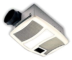 "BROAN QTXN110HL HEAT/FAN/LITE 110CFM VERY QUIET 0.9 SONES 1500W HEATER 2-60W 7W NITE-LITE NOT INCL 6"" DUCT FIT IN 2x8 CEILING REQUIRES DEDICATED 20A CIRCUIT 100sq ft"