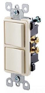 LEV 5634-W DECORA 1P/1P STACK SWITCH WHITE 15A 120/277V