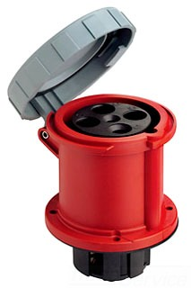 LEV 460R7W 60A 480v 3p 4w PIN & SLEEVE RECEPTACLE IP67 Watertight Red.