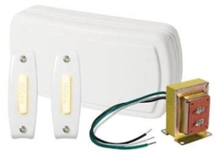 Doorbell, Wired Illuminated Chime Kit, 2-Note Door Chime, 2 Illuminated Pushbuttons, White