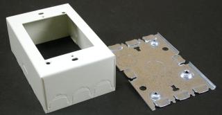 Receptacle Box, 1 Gang, 1 3/4 Inch Depth, Ivory, Steel