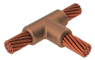 Welding Mold, Cable to Cable, Horizontal Tee, 4/0 AWG Run, 1/0 AWG Tap