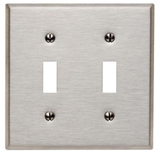 2 GANG TOGGLE WALLPLATE STAINLESS STEEL