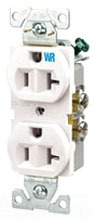 Duplex Receptacle, Weather Resistant, 2 Pole, 20 Amp, 125 Volt, Ivory