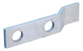 Offset Lug, 2 Hole, 0.563 Inch Hole, 1/4 X 1 1/2 Inch, Tinned Copper