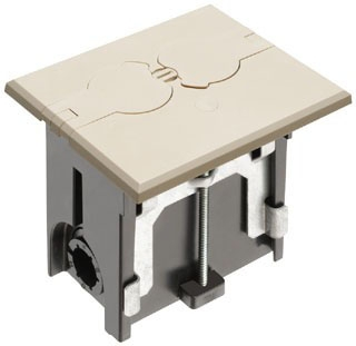 Floor Box Kit, 1 Gang, Adjustable, Two Flip Doors, Non-Metallic, Light Almond